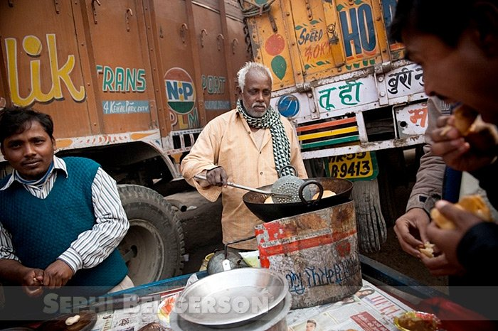 A makeshift restaurant at a truck depot outside of Delhi